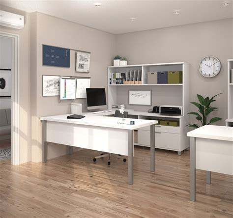 Modern White Ushaped Office Desk With Hutch Officedesk