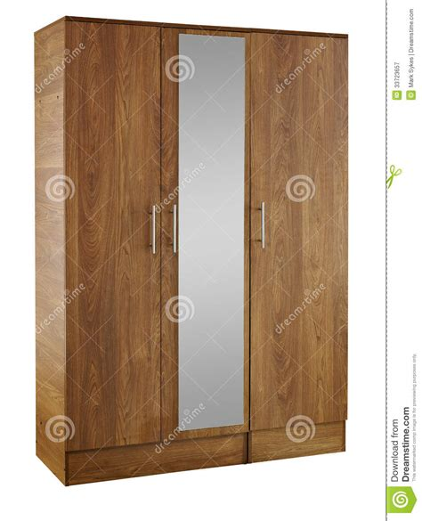 Brown Wardrobe With Mirror by Brown Wood Wardrobe Isolated On White Background Royalty