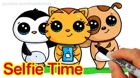 selfie time easy   draw penguin cat  dog