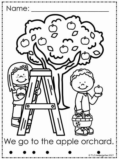 Apple Coloring Pages Kindergarten Tlc Printables Fall