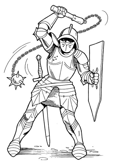 coloring page knight  mace