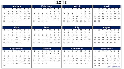 2018 Yearly Calendar Template 2018 Yearly Calendar Printable Templates Of Word Excel