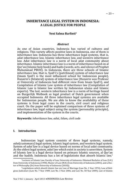 (PDF) Inheritance Legal System in Indonesia: A Legal