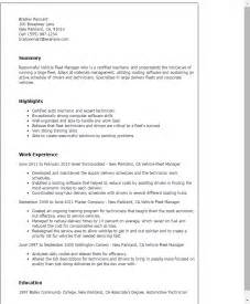 Fleet Sales Manager Resume professional vehicle fleet manager templates to showcase your talent myperfectresume