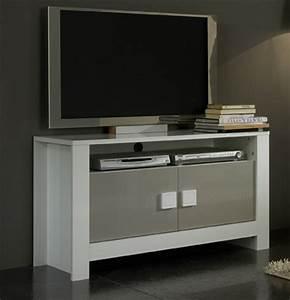 Meuble Tv Pisa Laque Bicolore Blanc Gris Blancgris