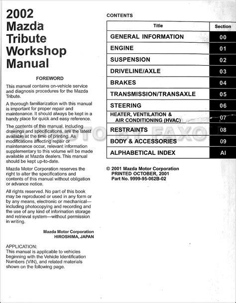 where to buy car manuals 2002 mazda b series navigation system 2002 mazda tribute repair shop manual original
