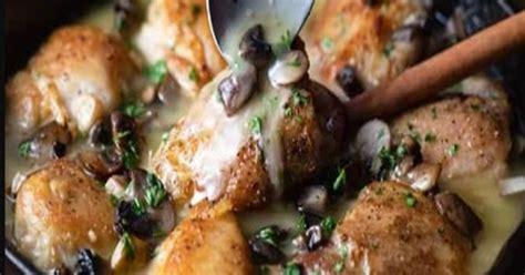 baked chicken thighs  white wine sauce xx yummy