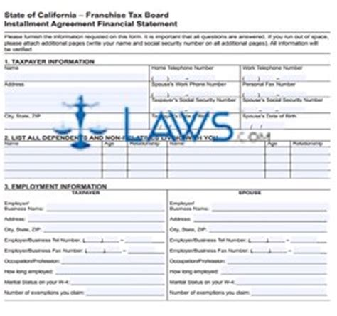 form 3561 ftb form 3561 installment agreement financial statement