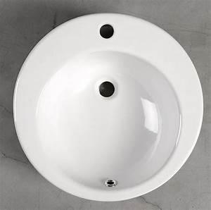 Waschbecken Zum Aufsetzen : brook keramikwaschtisch durchmesser 50cm zum aufsetzen ~ Markanthonyermac.com Haus und Dekorationen