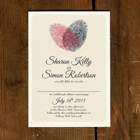 wedding invitations with hearts fingerprint wedding invitation and save the date by