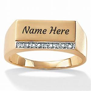 gold personalized mens engagement ring with your name With wedding ring writing