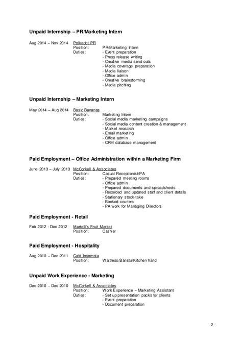 Unpaid Internships On Resume by Browne Resume