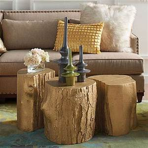 Tree stump table with casters all things heart and home for Gold tree trunk coffee table