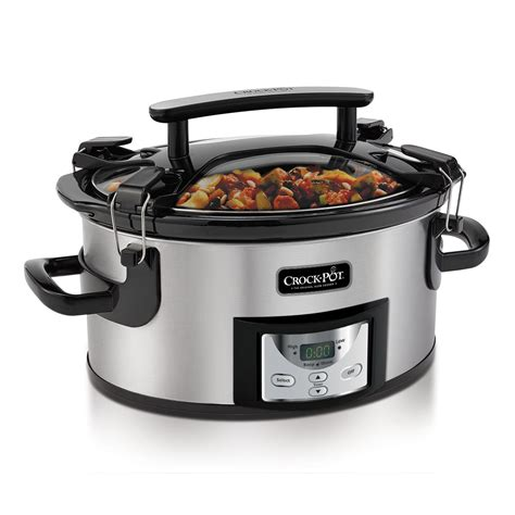 crock pot for one crock pot 174 one handed portable cooker with programmable countdown controller 6qt