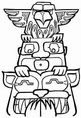 Totem Pole Coloring Pages Poles Printable Drawing Drawings Template Easy Designs Clipart Colouring Outline Native American Owl Animals Tiki Totems sketch template