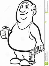 Fat Drawing Cartoon Person Beer Retired Whiteboard Coloring Line Vector Drawings Clipart Sketch sketch template