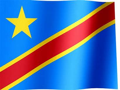 Congo Flag Republic Democratic Waving Animated Sky