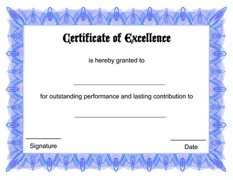 Blank Certificate Templates To Print