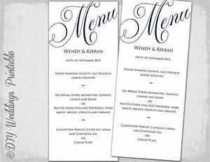 wedding menu template navy blue wedding menu diy wedding menu With menu templates for weddings