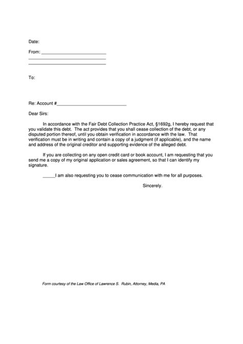 debt collection validation letter template printable