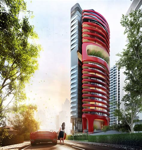 Pininfarina executed both the exterior and interior design. ferra luxury residential condo in singapore by pininfarina