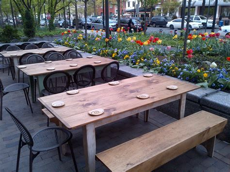 Restaurant Patio Furniture by Flowers And Tulips Around An Outside Patio At