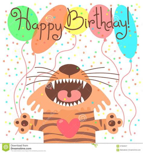 cute happy birthday card  funny tiger stock