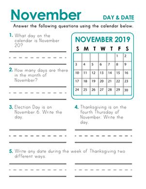 November 2018 Calendar Days And Dates  Worksheet Educationcom
