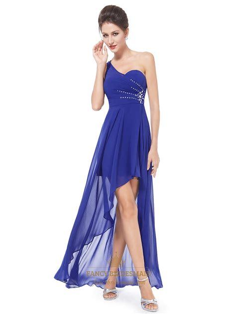 12760 Low Shoulder Flower Dress royal blue one shoulder high low bridesmaid dress with