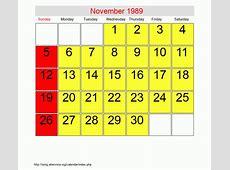 November 1989 Roman Catholic Saints Calendar