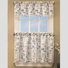 Coastal Kitchen Curtains  Blue Coastal By The Sea Tier