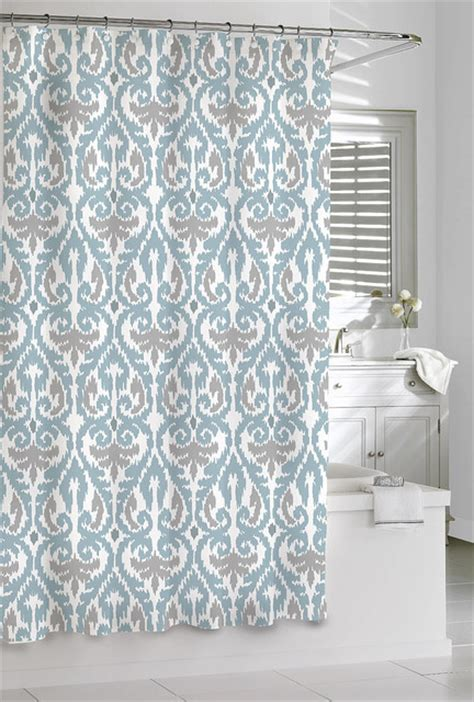 shower curtain aqua grey scrolled ikat design