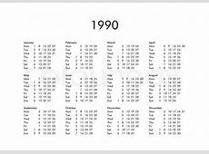 Vintage calendar of year 1990 with all months Stock