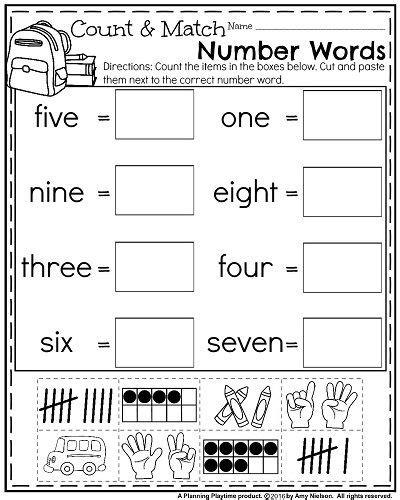 school kindergarten worksheets planning playtime