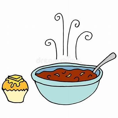 Chili Bowl Clipart Cornbread Muffin Clip Vector