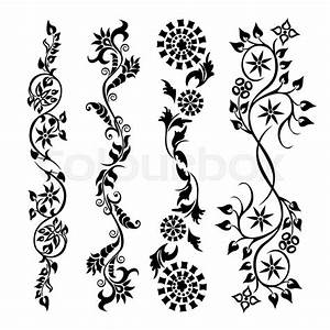 Set swirling decorative flower ornament motif pattern ...