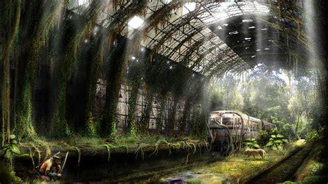 railway station ruins aftermath world illustrator