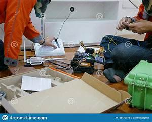 High Precision Fiber Optic Cleaver Is Being Used During A