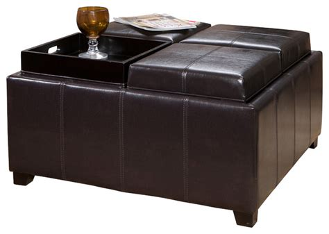 leather ottoman with storage and tray harley leather 4 tray top storage ottoman espresso