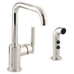 shop kohler purist vibrant polished nickel 1 handle high arc kitchen faucet at lowes