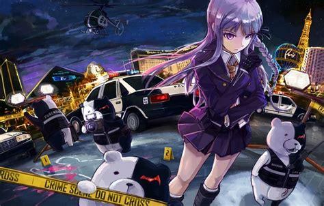 wallpaper girl blood police anime murder art girl