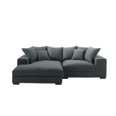 canape angle meridienne cuir 4 seater cotton corner sofa in grey bruges maisons du monde