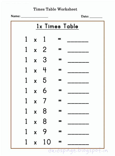 page printable 1 x times table worksheets for free
