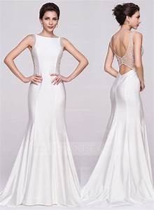 trumpet mermaid scoop neck court train jersey wedding With jersey wedding dress
