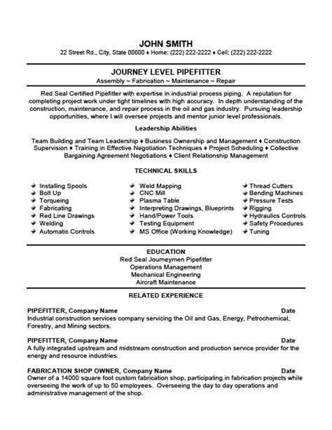 Pipefitter resume