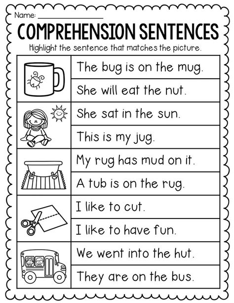 If you're teaching cvc words in kindergarten and first grade, you'll love this free cvc word list at your fingertips! Comprehension Sentences Worksheets - Distance Learning in ...