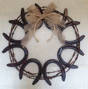 Horseshoe and Barbed Wire Wreath