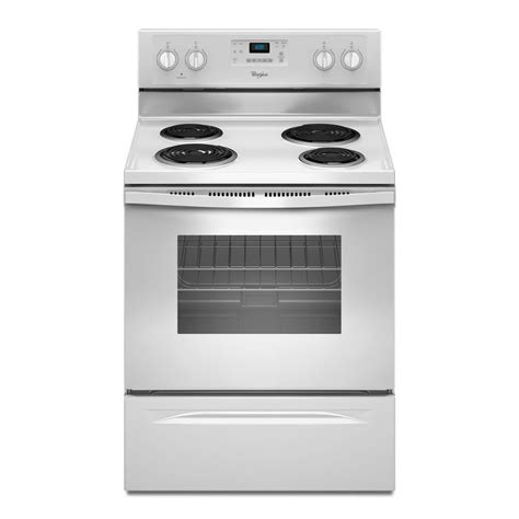 shop whirlpool freestanding 4 8 cu ft self cleaning electric range white common 30 in