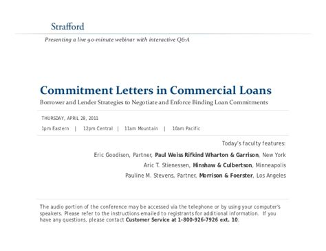 commitment letters  commercial loans borrower  lender