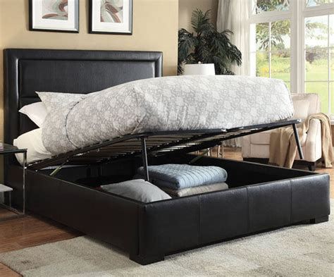 kipplan contemporary black bycast leather queen